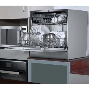 Voltas Beko Dishwasher 8 PS Portable Countertop Dishwasher Silver DT8S Right Open View