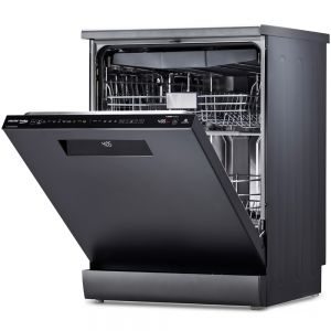 Voltas Beko 15 PS Full Size Dishwasher (Anthracite) DF15A Right & Front Open View
