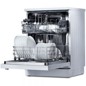 Voltas Beko 14 PS Full Size Dishwasher (White) DF14W Right & Front Open View