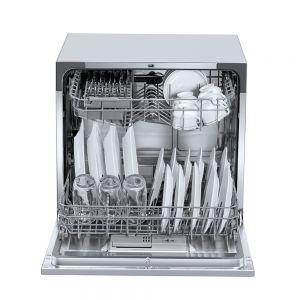 Voltas Beko Dishwasher 8 PS Portable Countertop Dishwasher (Silver) DT8S Front Open View
