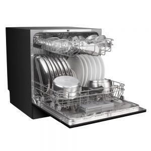 Voltas Beko Dishwasher 8 PS Portable Countertop Dishwasher (Black) DT8B Left Open View