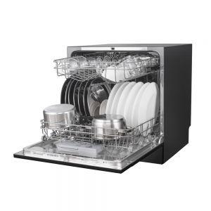 Voltas Beko Dishwasher 8 PS Portable Countertop Dishwasher Black DT8B Right Open View