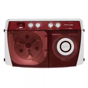 Voltas Beko 9 kg Semi Automatic Washing Machine (Burgundy) WTT90ABRT Top View Open