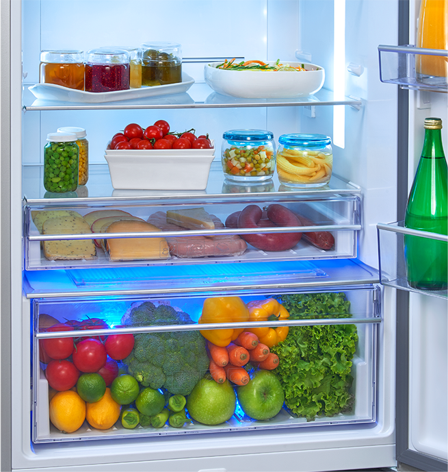 Voltas Beko Refrigerator Active Fresh Blue Light Technology Feature - Protects Vitamin C Intensity in Fruits and Vegetables